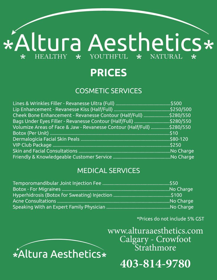 This is a price list of the services Altura Aesthetics offers ti make sure its clients are looking their best.