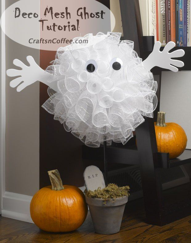 •❈• How cute is this Halloween ghost made with Deco Mesh? Tutorial on CraftsnCoffee.com.