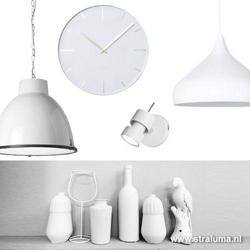 *Moderne luxe wandklok wit keuken/ hal - www.straluma.nl