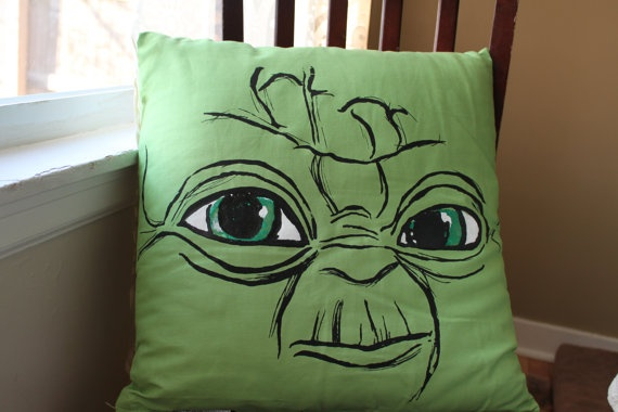 Screenprinted Green Yoda Decorative Pillow 20 by themallofjustice, $27.50