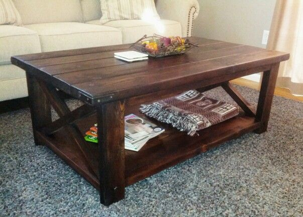 Just finished this home-made rustic farmhouse coffee-table. Cost about $35. Idea from www.ana-white.com