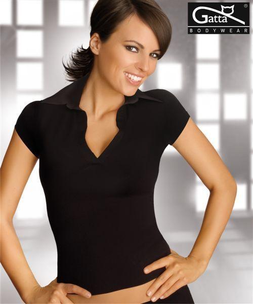 Polo sexy noir femme microfibre  GATTA  taille S M L