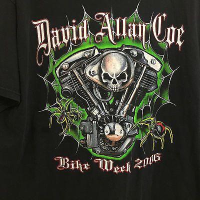 David Allan Coe World Tour Bike Week Concert T-Shirt 2XL Double Sided Rare