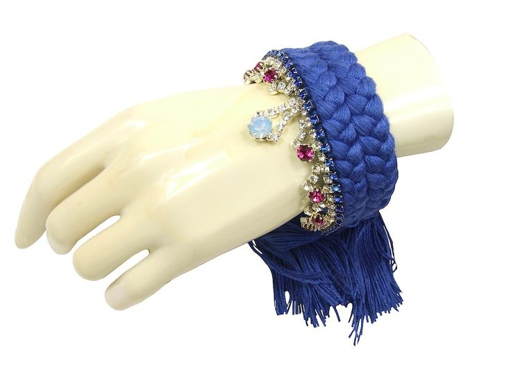 Braided bracelet blue with crystals - Jolita Jewellery  ON SALE NOW. Was £265 now £110.