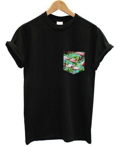 real stitched blue flamingo print pocket t-shirt hipster indie swag dope hype black white men woman cute on Etsy, $17.22