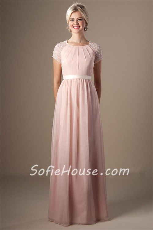 Modest Sheath Scoop Neck Short Sleeve Blush Pink Chiffon Prom Dress With Sash