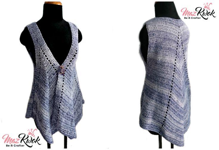 crochet pointed hem vest, crochet pointed tailed vest, crochet vest free pattern, crochet opened front vest, crochet vest