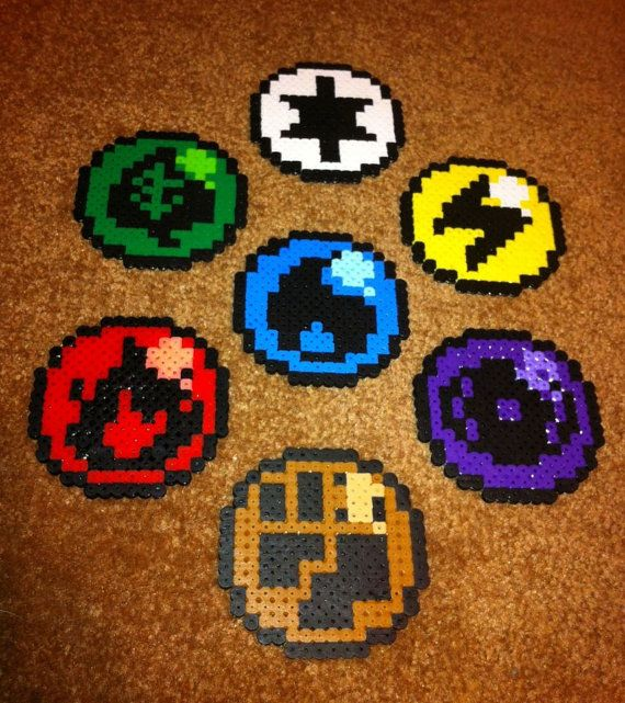 Pokemon Elemental Type Perler Bead Coasters by OtakuBeadsmith