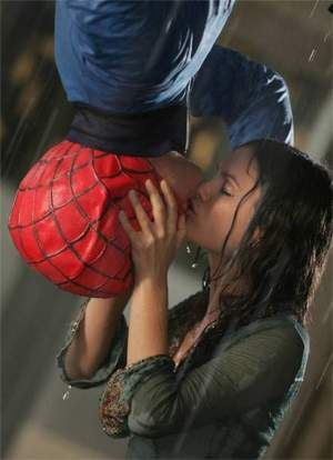 the spiderman kiss engagement picture