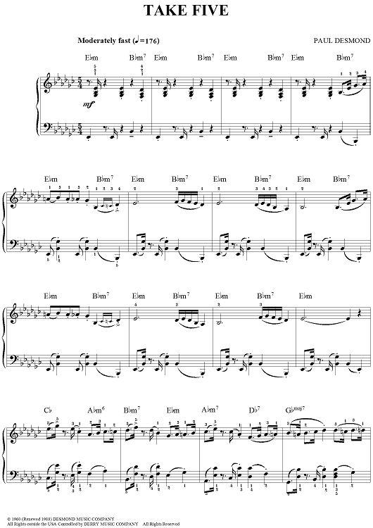 Take Five Sheet Music (Dave Brubeck)