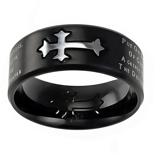ARMOR OF GOD Jewelry Cross Ring For Men Stainless Steel