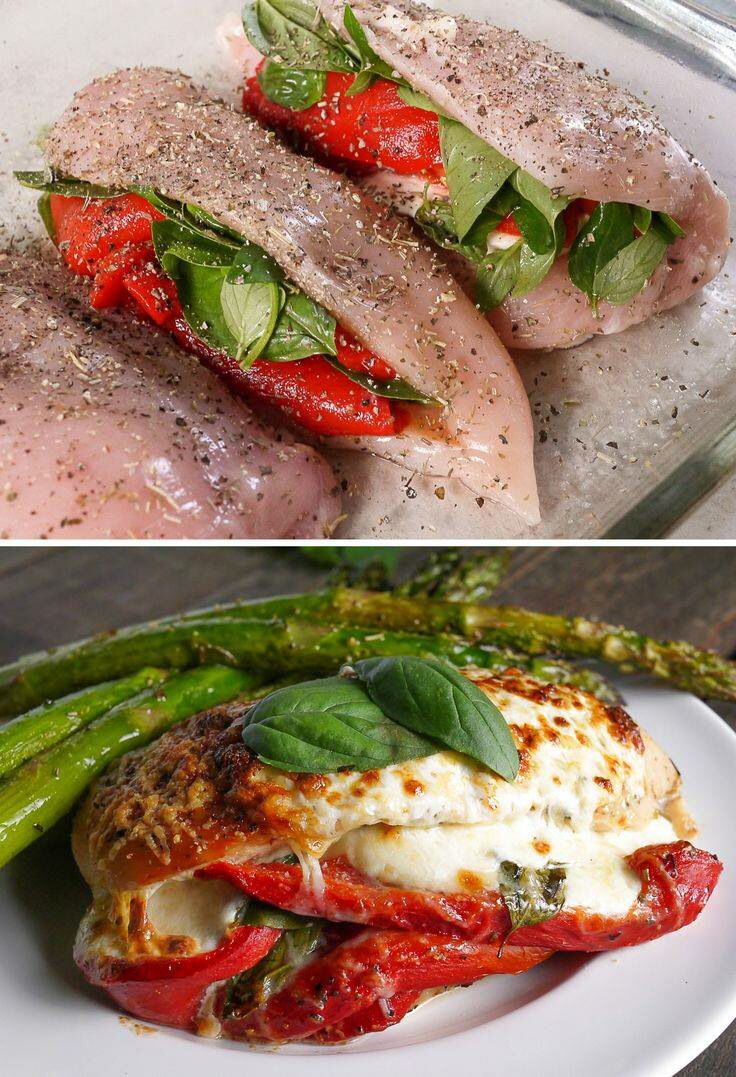Wow this sounds really good.Roasted Red Pepper, Mozzarella and Basil Stuffed Chicken Serves: Ingredients: 4 boneless, skinless chicken breasts. 8 ounces fresh mozzarella, sliced into 8 slices. 1 12 oz jar of roasted red peppers sliced into 1 inch pieces. 1 bunch of basil, whole leaves 1/4 cup fresh grated parmesan. 1 tablespoon Italian seasoning Salt and pepper for seasoning Directions: Preheat oven to 400. Cook 35 minutes.