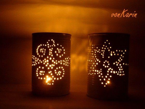 Romantische Laternen aus Konservendosen