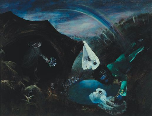 Arthur Boyd 'Bride in a Cave with Rainbow' 1958, oil and tempera on composition board, 90.0 x 121.0cm
