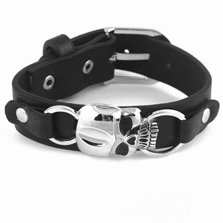 Bracelets men's braided punk genuine leather buckle rock punk zinc alloy sku…   – Products
