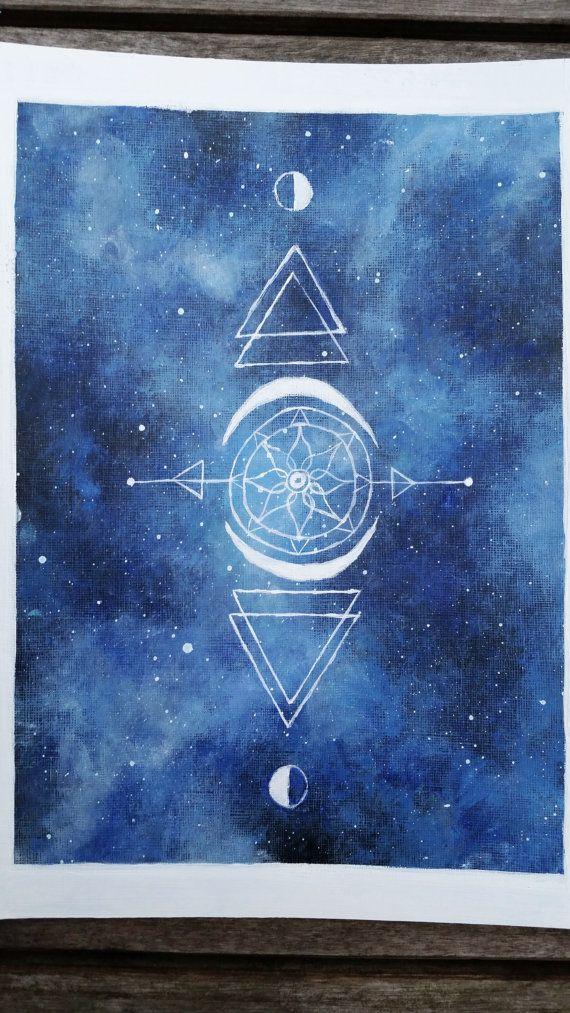 Heilige Geometrie Malerei Ursprüngliche von TheMindBlossom auf Etsy