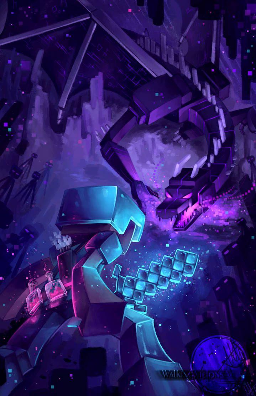 Epic Minecraft The End By Walkingmelonsaaa In 2020 Minecraft Wallpaper Minecraft Fan Art Minecraft Anime