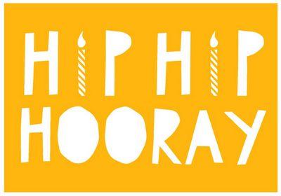 Hip Hip Hooray Card from YOKE, hooray, candle, yoke, stationary, card, print, yellow, hip hip hooray