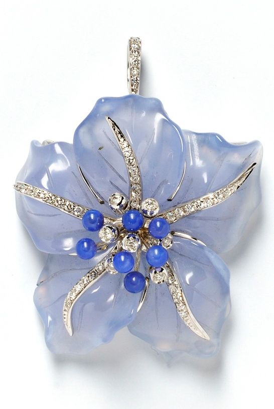 18kt White Gold, Dyed Blue Chalcedony, and Diamond Pendant/Brooch, designed as a flower with full-cut diamond melee, lg. 1 3/4 in.