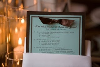 quizzes at the table #wedding