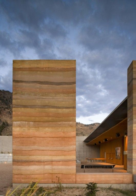 I want this wall and that sky.  Rammed earth wall | Nk'Mip Desert Cultural Centre | DIALOG