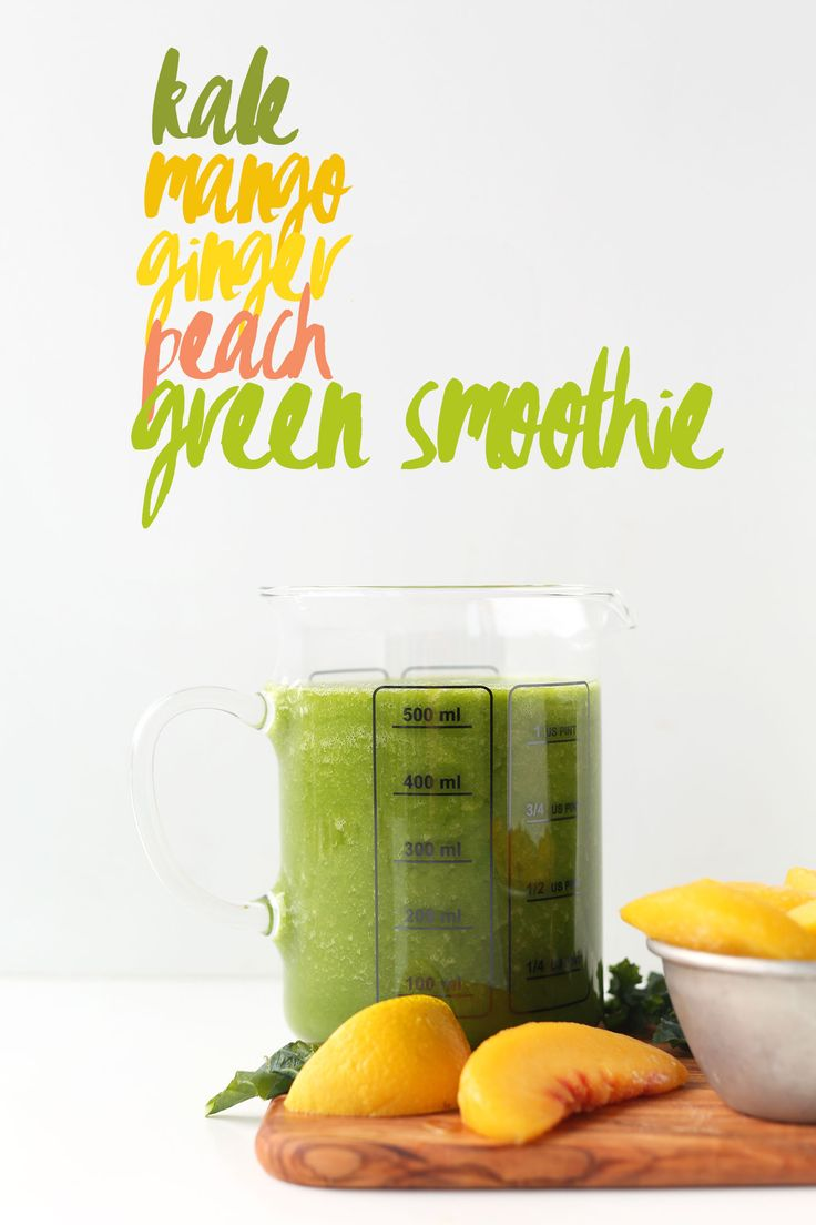 optional: 1 cup ice, 2 cups kale, packed, 1 cup frozen mango cubes, 1 cup frozen peaches, 1 Tbsp minced fresh ginger, 1 1/2 - 2 lemons or limes, juiced, 1 1/2 - 2 cups filtered water, optional: 1 Tbsp maple syrup (depending on sweetness of fruit)