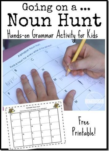 Going on a Noun Hunt - This is such a fun kids activity for Kindergarten, 1st, 2nd, 3rd grade kids to practice nouns. (FREE printable grammar activity for kids) #GrammarMatters
