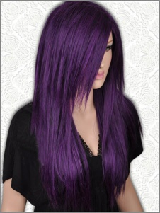 Long Straight Dark purple /Black Mix Wig For Women