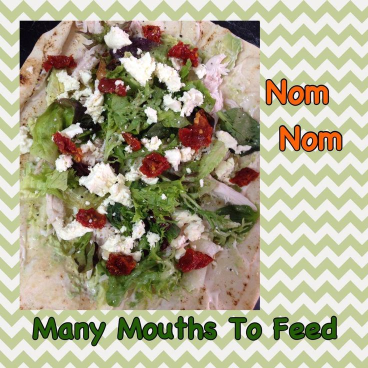 mayo, avocado, chicken, salad leaves, marinated feta & semi dried marinated tomatoes.. Lots of pepper is a must
