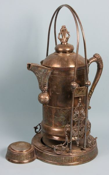 Victorian silver plated water pitcher, dated 1888.