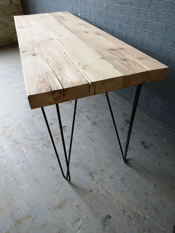 Chic Reclaimed Wood Office Desk how to build a corner desk Industrial Chic Reclaimed Custom Hairpin Leg Office Desk Tables Steel And Wood Metal Hand Made 174