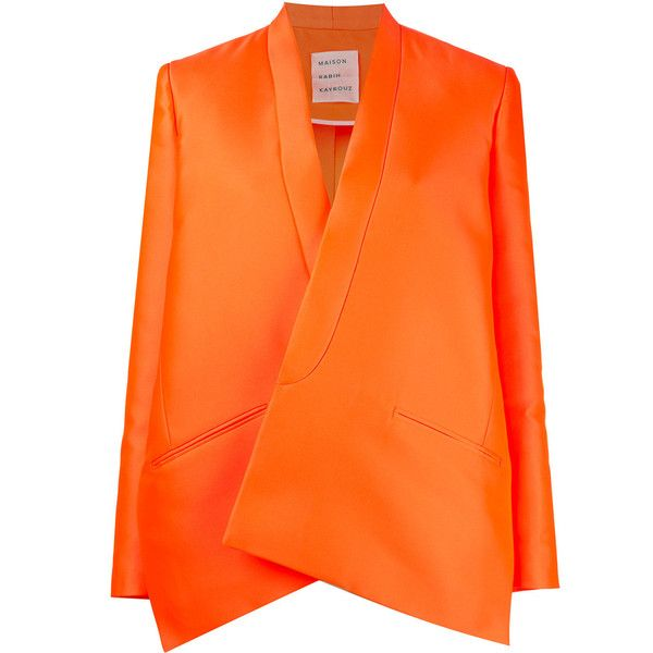 Maison Rabih Kayrouz - oversized blazer - women -... (20005 MAD) ❤ liked on Polyvore featuring outerwear, jackets, blazers, silk jacket, orange jacket, maison rabih kayrouz, orange blazer and oversized jacket