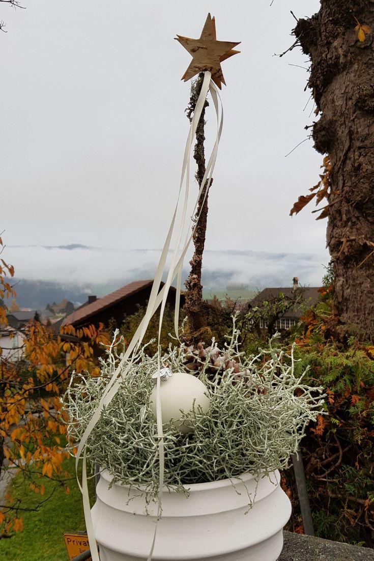 bastelidee mit einer silberk rbchen pflanze in weiss dix dekoidee basteln weihnachten. Black Bedroom Furniture Sets. Home Design Ideas