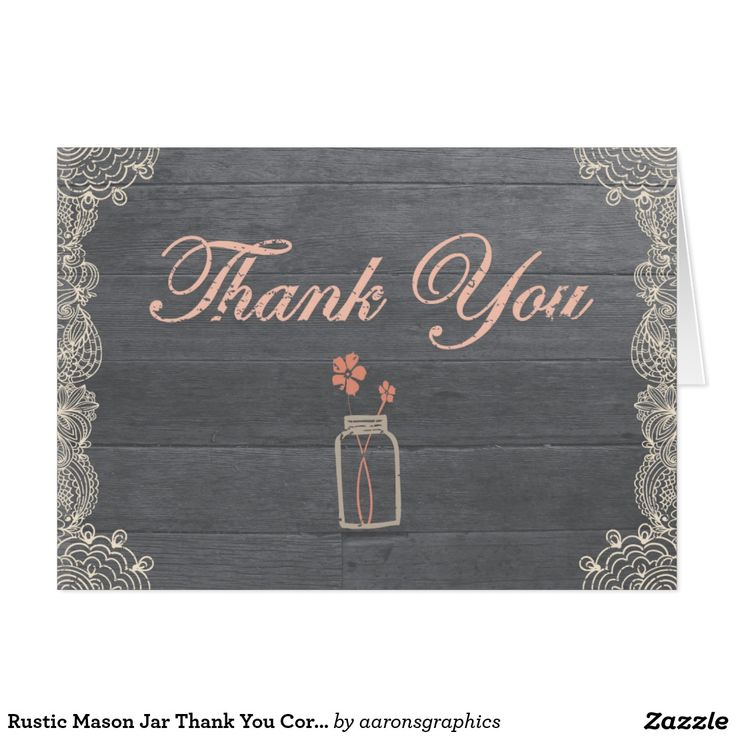 personalized wedding thank you notes%0A Rustic Mason Jar Thank You Coral Note Cards