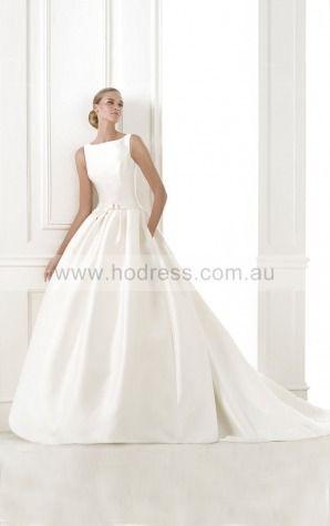 Princess Sleeveless Jewel Buttons Floor-length Wedding Dresses fcaf1007--Hodress