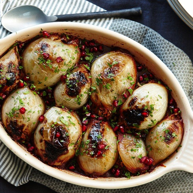 I need to veganize this!!!!    Stuffed Onions with Spiced Lamb and Pomegranate