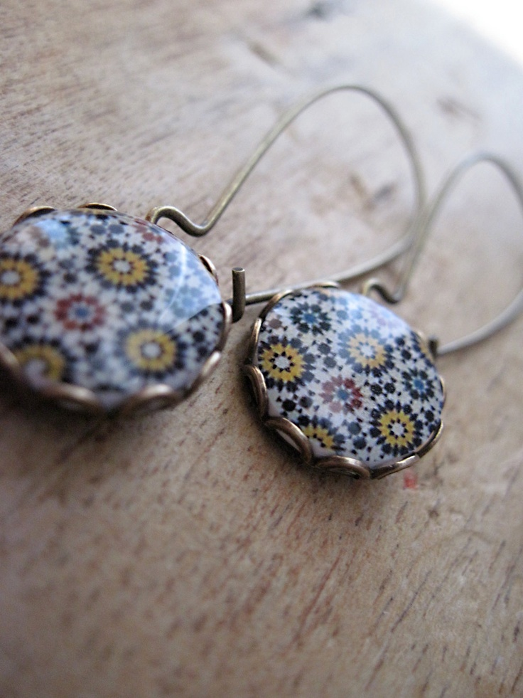 Earrings, Islamic tile cabochon, Islamic jewelry, handmade, Antique oxidized brass kidney wires, fall colors, free shipping worldwide. $27.00, via Etsy.