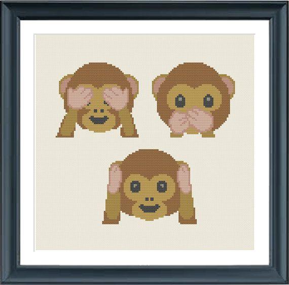 cross stitch pattern hear see speak emoji monkeys modern