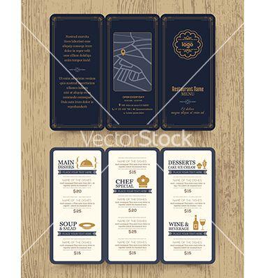 Vintage restaurant menu design pamphlet vector