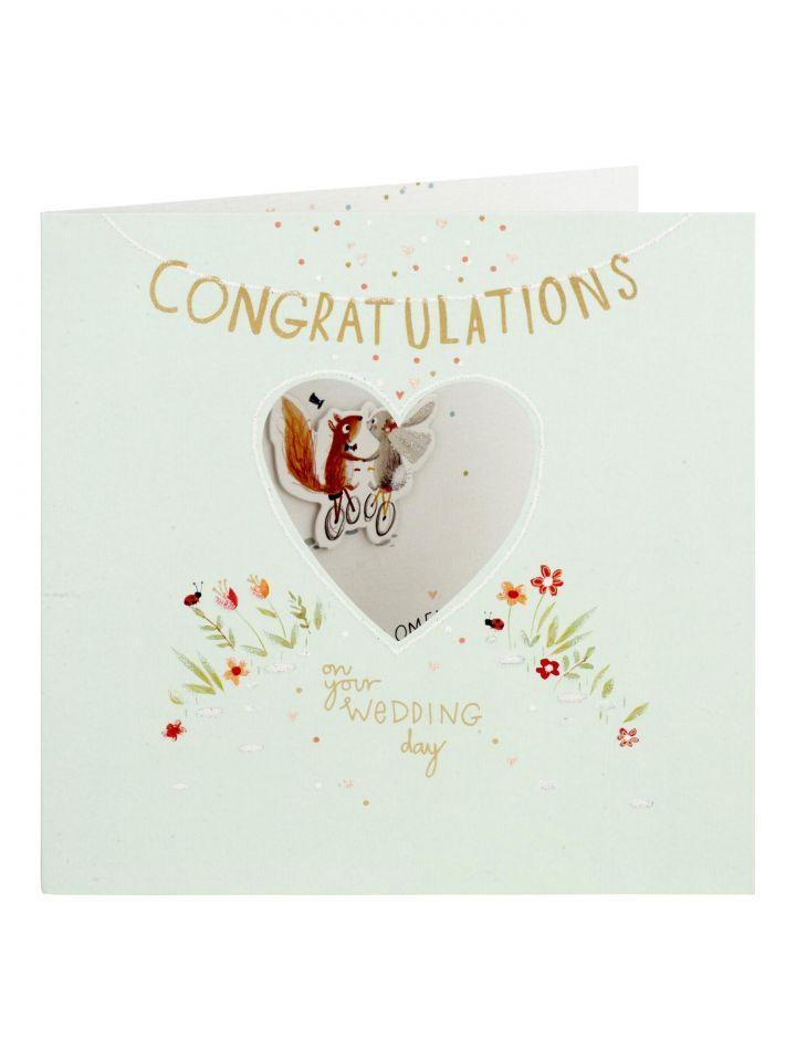 Squirrel Rabbit Couple Wedding Card Wedding Cards Flamingo Wedding Congratulations On Your Wedding Day