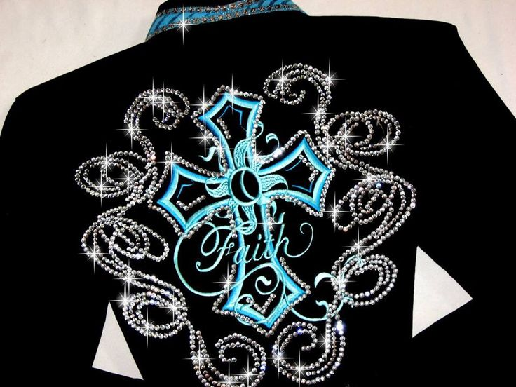 Just Fly Designs Bling Turquoise Cross Faith Rodeo Queen Rodeo Shirt