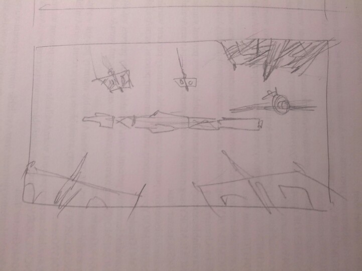 Idea for Starforgers back cover art. Top Eight-fighters are upside down, bottom are right side up.