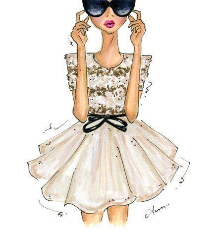 Fashion Illustration Print, Jason Wu Spring 2012 op Etsy.