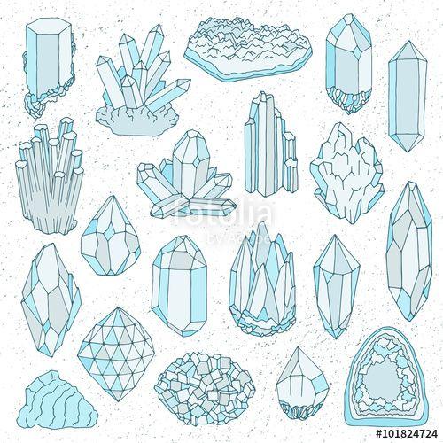 Vector: Hand drawn line crystal, mineral, gem
