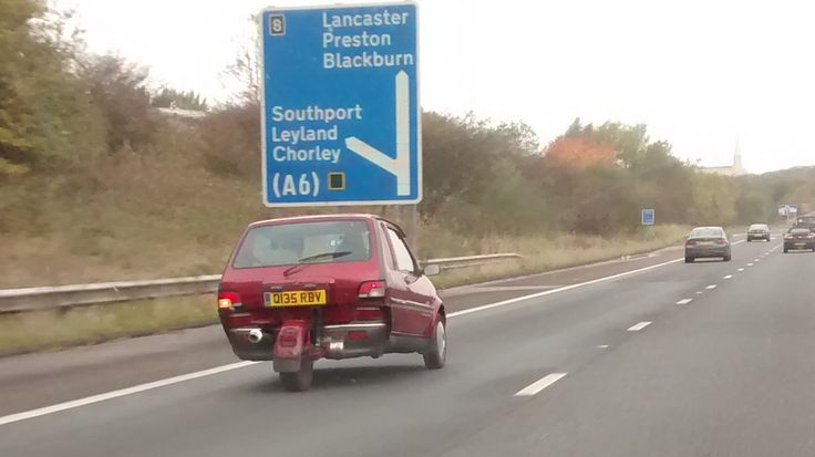 Saw this on the motorway near Leyland, the heart of British Automotive engineering. Takes cut-and-shut to a whole new level!