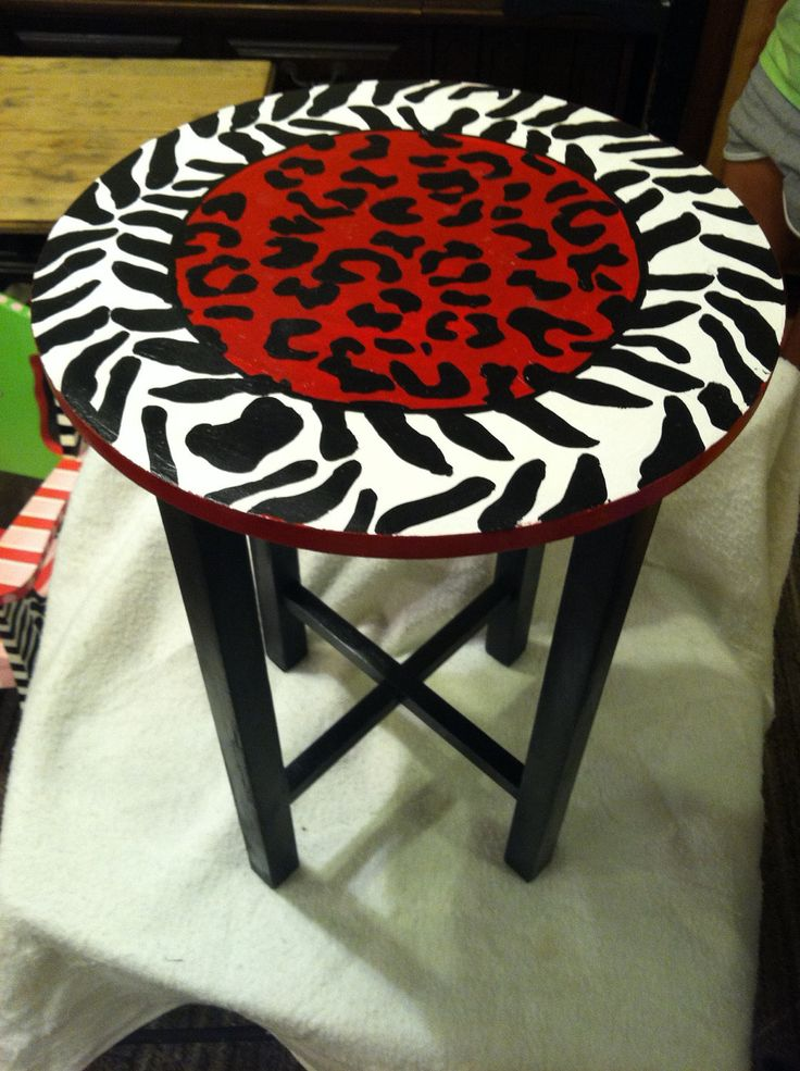 Funky Hand Painted Side Table /end Table Whimsical Bright Design Zebra And  Leopard Print.