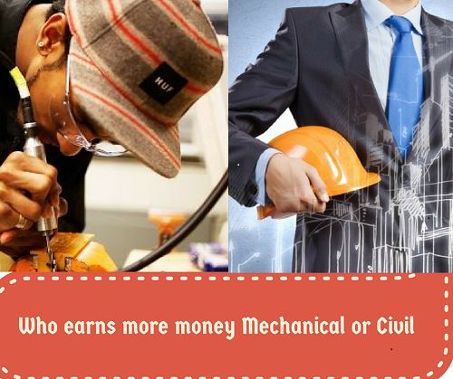 Electrical and mechanical engineers secure the most jobs in US and across the world. Even in India if we look carefully, these are the two fields, which have created more job opportunities. The salary of the mechanical engineers compared to those of civil engineers is different. The mechanical engineers and civil engineers both are core-engineering education so both have immense scope.
