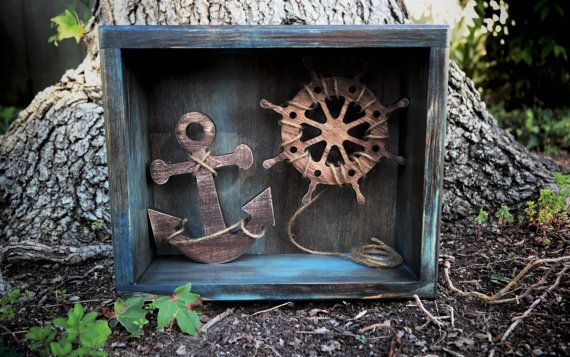 Nautical Ship Wheel & Anchor Themed Rustic by createthingseveryday