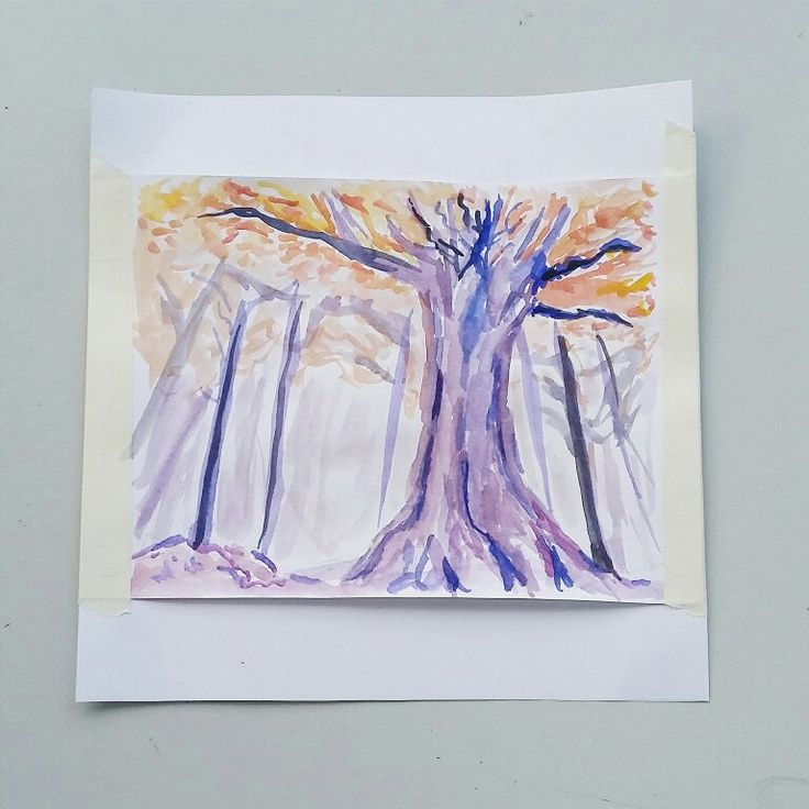 Painting a tree as a development of a design which consists of seven lines.