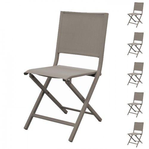 chaise pliante ida taupe lot de 6